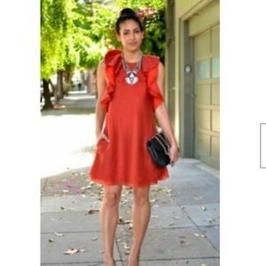 H&M Conscious Ruffled Orange Red Dress Size US 8